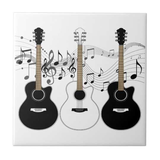 Black and White Acoustic Guitar Pop Art Trio Small Square Tile
