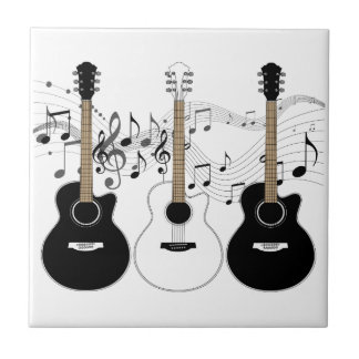Black and White Acoustic Guitar Pop Art Trio Tile