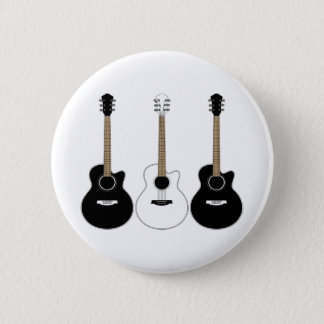 Black and White Acoustic Guitars Pop Art Vector 6 Cm Round Badge