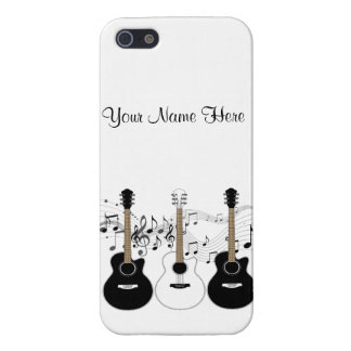 Black and White Acoustic Guitars Pop Art Vector Case For iPhone 5/5S