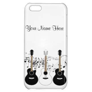 Black and White Acoustic Guitars Pop Art Vector Case For iPhone 5C