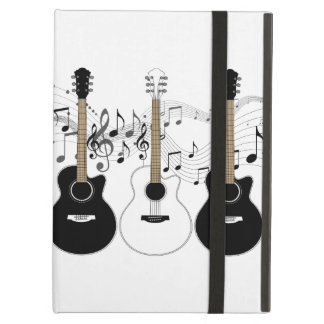 Black and White Acoustic Guitars Pop Art Vector Cover For iPad Air