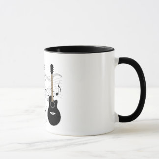 Black and White Acoustic Guitars Pop Art Vector Mug