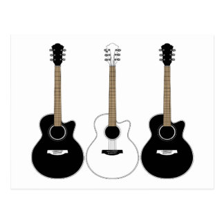 Black and White Acoustic Guitars Pop Art Vector Postcard