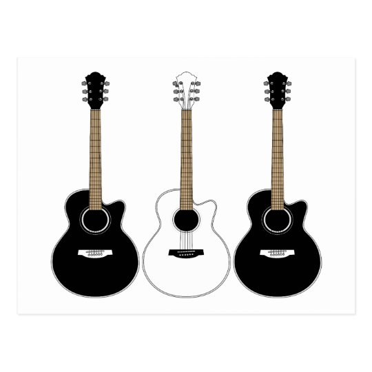 Black and White Acoustic Guitars Pop Art Vector
