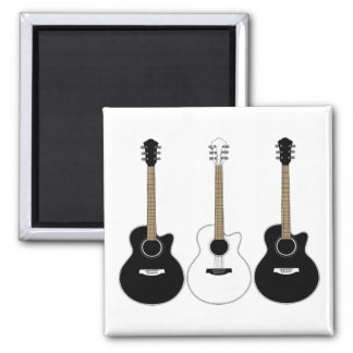 Black and White Acoustic Guitars Pop Art Vector Square Magnet