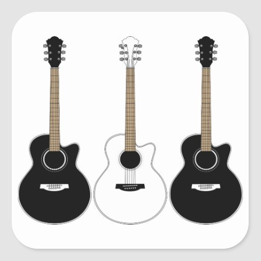 black and white acoustic guitars pop art vector square sticker zazzle. Black Bedroom Furniture Sets. Home Design Ideas