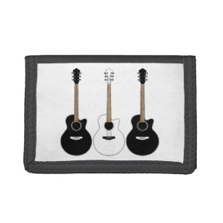 Black and White Acoustic Guitars Pop Art Vector Tri-fold Wallet