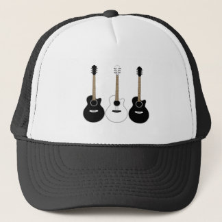 Black and White Acoustic Guitars Pop Art Vector Trucker Hat