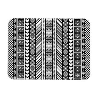 Black and White Adinkra Symbol Kente Cloth Pattern Rectangular Photo Magnet