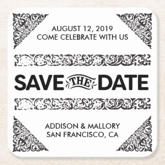 Black and White Adored Save the Date Coasters