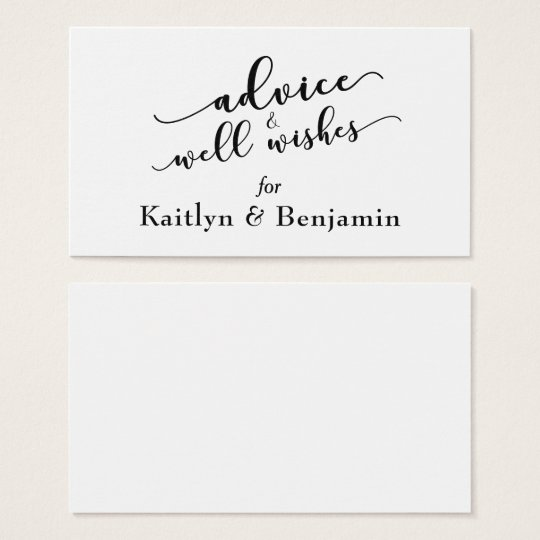 Black and white advice well wishes wedding business card zazzle black and white advice well wishes wedding business card colourmoves