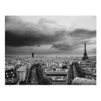 black and white aerial view of an overcast sky postcard