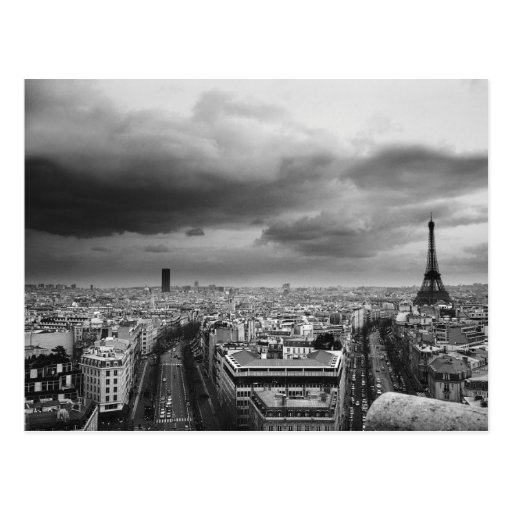 black and white aerial view of an overcast sky postcards