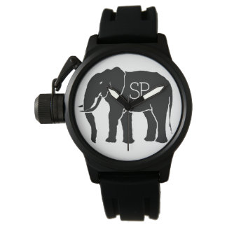 Black and White African Elephant with Initials Watch