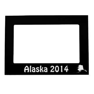 Black and White Alaska Shape Magnetic Picture Frame