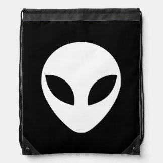 Black and White Alien Head Drawstring Bag