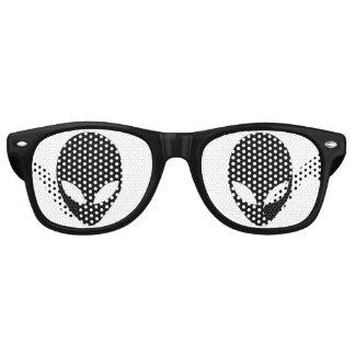 Black and White Alien Head Retro Sunglasses