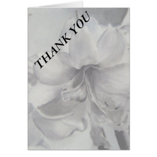 BLACK AND WHITE AMARYLLIS FLOWER THANK YOU CARD