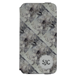 BLACK AND WHITE AMARYLLIS FLOWER WALLET CASE INCIPIO WATSON™ iPhone 6 WALLET CASE