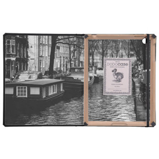 Black and White Amsterdam Canal Photograph Cover For iPad