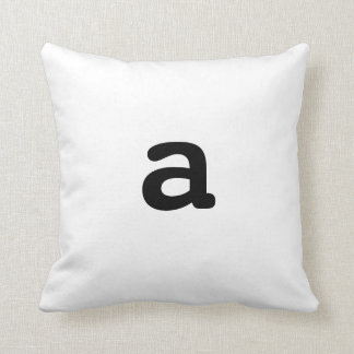 Black and white Anagram Pillow Lowercase Letter a Throw Cushion