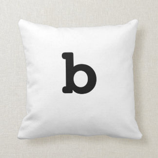 Black and white Anagram Pillow Lowercase Letter b