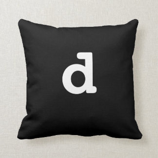Black and white Anagram Pillow Lowercase Letter d