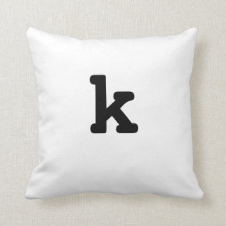 Black and white Anagram Pillow Lowercase Letter k
