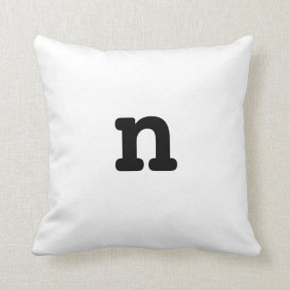 Black and white Anagram Pillow Lowercase Letter n Throw Cushion