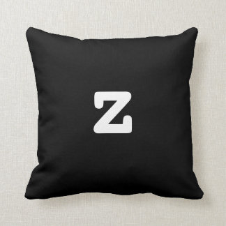 Black and white Anagram Pillow Lowercase Letter z