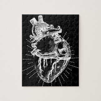 Black And White Anatomical Heart Puzzle