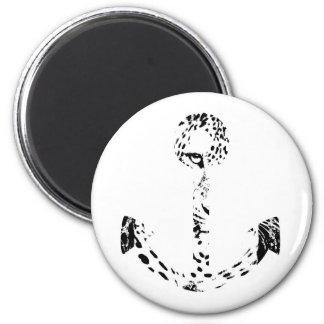 Black and White Anchor Leopard Eye Overlay 6 Cm Round Magnet
