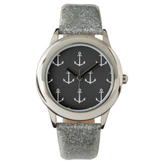 Black and White Anchors Pattern 1 Watch