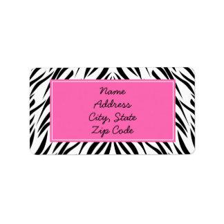Black and White and Hot Pink Zebra Print Address Label