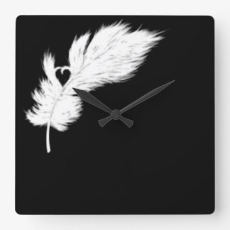 black and white angel heart feather clock