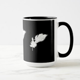 black and white angel heart feather mug