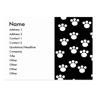 Black and White Animal Paw Print Pattern Business Card Templates