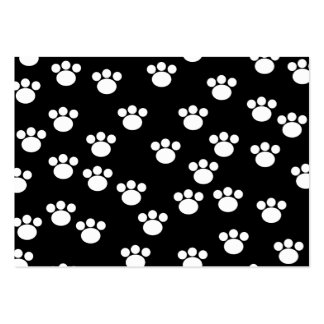 Black and White Animal Paw Print Pattern. Business Card Templates