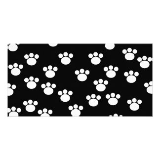 Black and White Animal Paw Print Pattern. Card