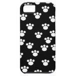 Black and White Animal Paw Print Pattern. iPhone 5 Cases