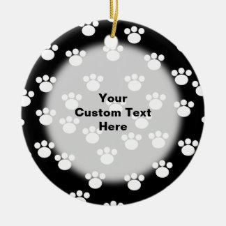 Black and White Animal Paw Print Pattern. Christmas Ornament
