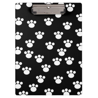 Black and White Animal Paw Print Pattern. Clipboard
