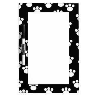 Black and White Animal Paw Print Pattern. Dry Erase Board