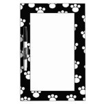 Black and White Animal Paw Print Pattern. Dry-Erase Whiteboards