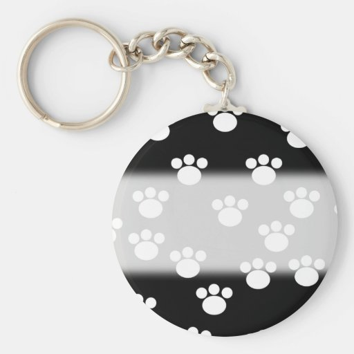 Black and White Animal Paw Print Pattern. Key Chains