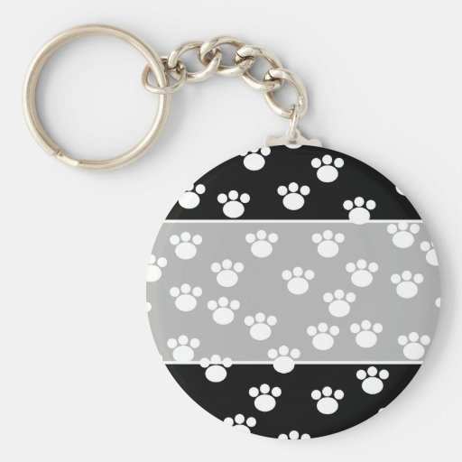 Black and White Animal Paw Print Pattern. Keychain
