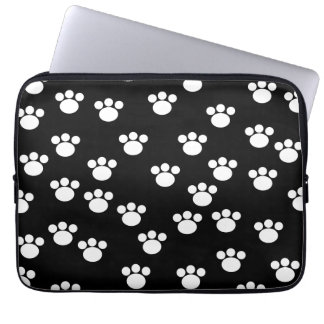 Black and White Animal Paw Print Pattern. Laptop Sleeve