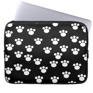 Black and White Animal Paw Print Pattern Laptop Sleeves