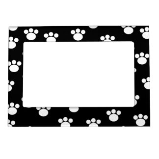 Black and White Animal Paw Print Pattern. Magnetic Picture Frame